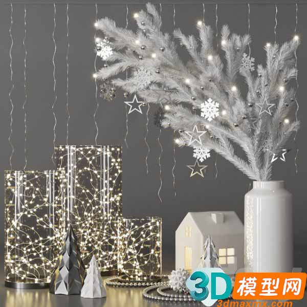 Christmas Decorative set with spruce branch and garlands插图