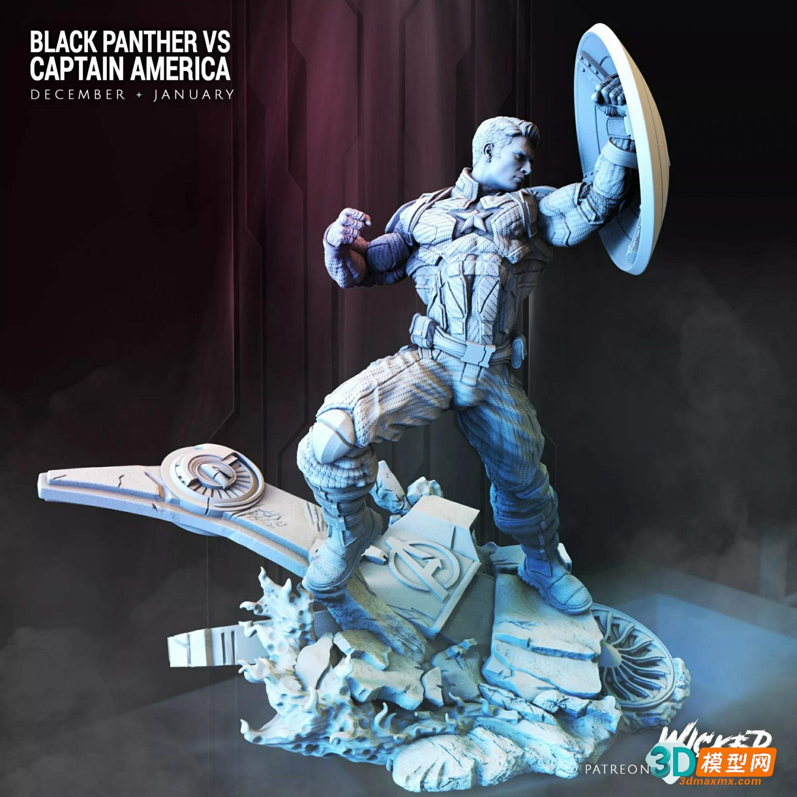 Captain America vs Black Panther Diorama Full – Wicked3D插图