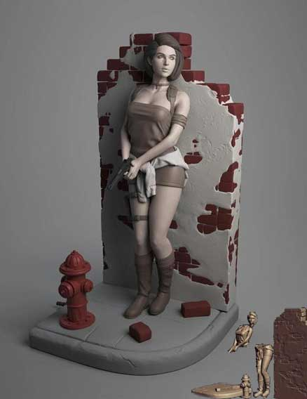 Jill Valentine Pinned to the wall diorama插图